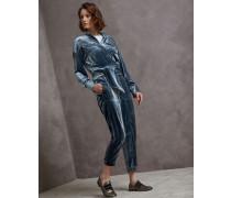 Jumpsuit aus Pannesamt mit Shiny Stitch