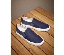 Slipon-Sneakers aus Nubuk und gewaschenem Canvas