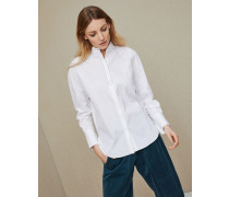 Bluse aus Baumwollpopeline mit Stretch mit Monili