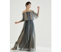 Kleid aus gestreiftem Seidenorganza