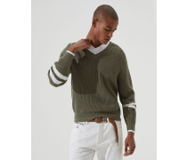 Pullover aus melierter Baumwolle in Patentstrick