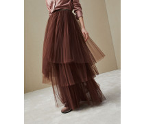 Rock Long Ruffled Pleated aus Tüll mit Monili