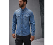 Hemd Leisure Fit aus leichtem Denim in Used-Optik