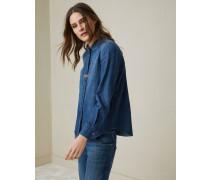 Bluse aus leichtem Baumwolldenim mit Schmuckdetail