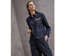 Bluse aus Baumwolldenim mit Schmuck-Pattentasche