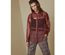 Bluse aus Seidenkrepp mit Shiny Stitch