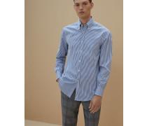 Hemd in Slim Fit aus gestreifter Popeline