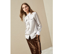 Bluse aus Seidensatin mit Stretch mit Shiny Stitch