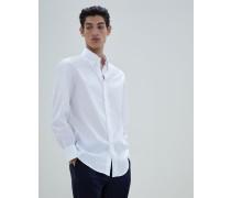 Hemd Basic Fit aus Twill mit Button-Down-Kragen