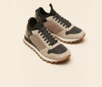 Sneakers aus Veloursleder und Shiny Net