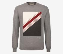 Wollpullover Mit Intarsien-Design Grau
