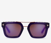 Eckige Sonnenbrille Mit Nieten Lila