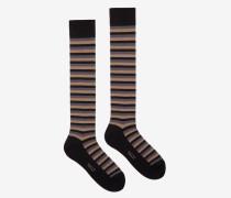 Lange Gestreifte Socken Schwarz