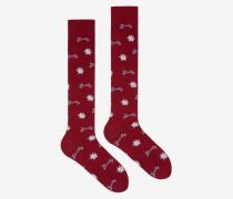 Lange Edelweiss Socken Rot