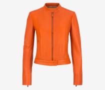 Bikerjacke Aus Leder Im Café Racer-Stil Orange