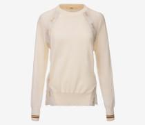 Pullover Mit Rundhalsausschnitt Und Zierband WeiB