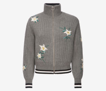 Edelweiss Knitted Bomber Jacket Grau