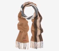 Gestreifter Schal Aus Wollmischgewebe Braun
