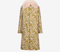 Car Coat Mit Floralem Jacquard-Muster Gelb