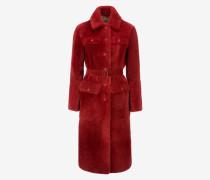 Mantel Aus Biberpelz Mit Gürtel Rot