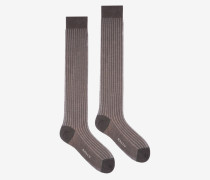 Lange, Gerippte Socken Grau