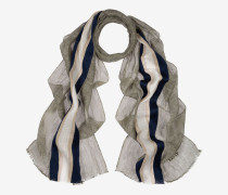 Gestreifter Schal Aus Leinenmischgewebe Mehrfarbig