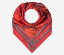 Seidenschal Mit Wappen-Print Rot