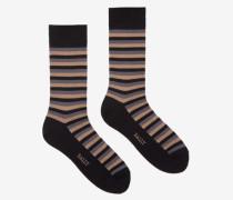 Kurze Gestreifte Socken Schwarz