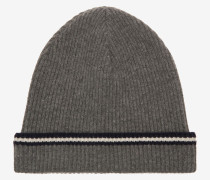 Beanie-Mütze Mit Bally-Streifen Grau