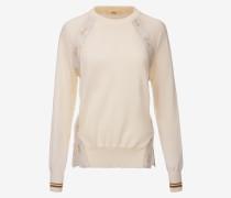 Pullover Mit Rundhalsausschnitt Und Zierband Weiß