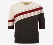Pullover Mit Kurzen Ärmeln Und Intarsien-Design Mehrfarbig