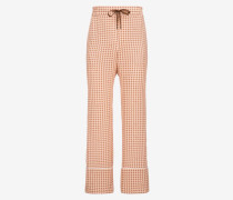 Hose Im Pyjamastil Aus Seide Mit B-Printdesign Rosa