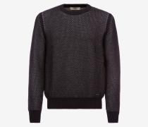 Pullover Mit Rundhalsausschnitt Aus Baumwoll-Woll-Mischgewebe Blau