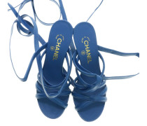 Second Hand  Sandalen aus Leder in Blau