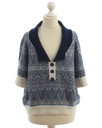 Second Hand  Kaschmirpullover in Blau-Weiß