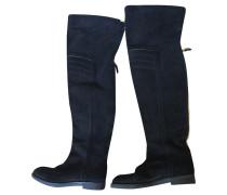 Second Hand  Stiefel aus Wildleder in Schwarz