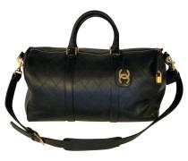 Second Hand  Reisetasche aus Leder in Schwarz
