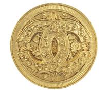 Second Hand  Goldfarbene Brosche mit Logo