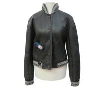 Second Hand  Jacke/Mantel aus Leder in Grau