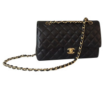 Second Hand  Flap Bag aus Leder in Schwarz