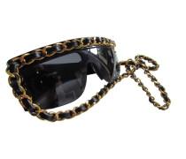 Second Hand  CHANEL Lady GAGA - La Chaîne - Leder & Gliederkette Sonnenbrille KETTENBRILLE Ultra Rar