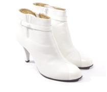 Second Hand Stiefeletten aus Leder in Weiß