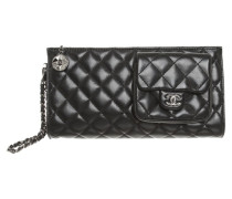 Second Hand  Clutch aus Leder in Schwarz