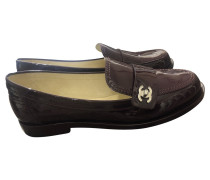 Second Hand Slipper/Ballerinas aus Leder in Violett