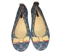 Second Hand  Slipper/Ballerinas aus Jeansstoff in Blau