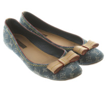 Second Hand Slipper/Ballerinas aus Jeansstoff in Blau