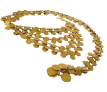 Second Hand  CHANEL Vintage goldfarben 5-Reihen Gürtel mit C H A N E L CC Münzen