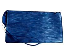 Second Hand  Clutch aus Leder in Blau