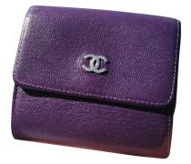 Second Hand  Täschchen/Portemonnaie aus Leder in Violett