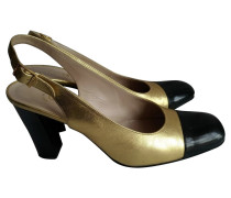 Second Hand  Pumps/Peeptoes aus Leder in Gold